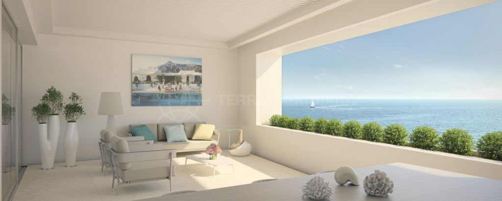 Estepona, Brand-new, luxury two-bed apartment for sale, with swimming pool and front-line Mediterranean views, centre of Estepona