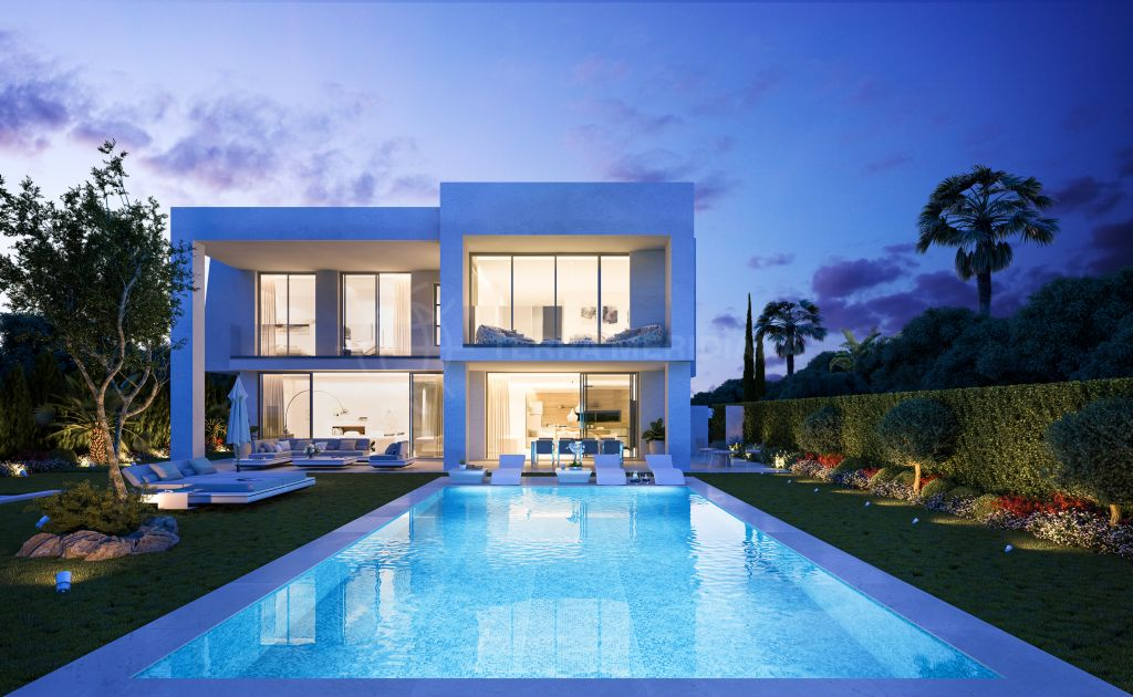 Marbella East, New designer contemporary villa for sale with saltwater pool, sea views, Santa Clara, Marbella East