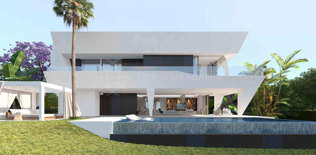 Estepona, Chalet contemporáneo sobre plano con jacuzzi en la azotea y piscina privada en venta en El Campanario, Estepona