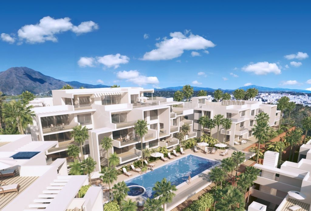 Estepona, Off-plan 2 bedroom ground floor apartment for sale in Estepona with communal infinity pool and sea views