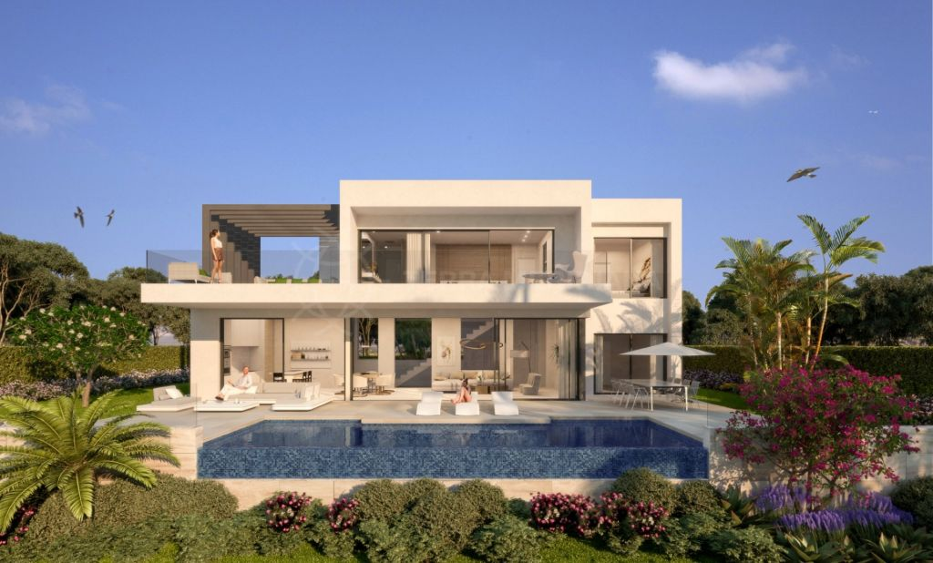 Estepona, New 3 bedroom contemporary villa designed by award winning team, for sale in Atalaya, Estepona with private pool and sea views