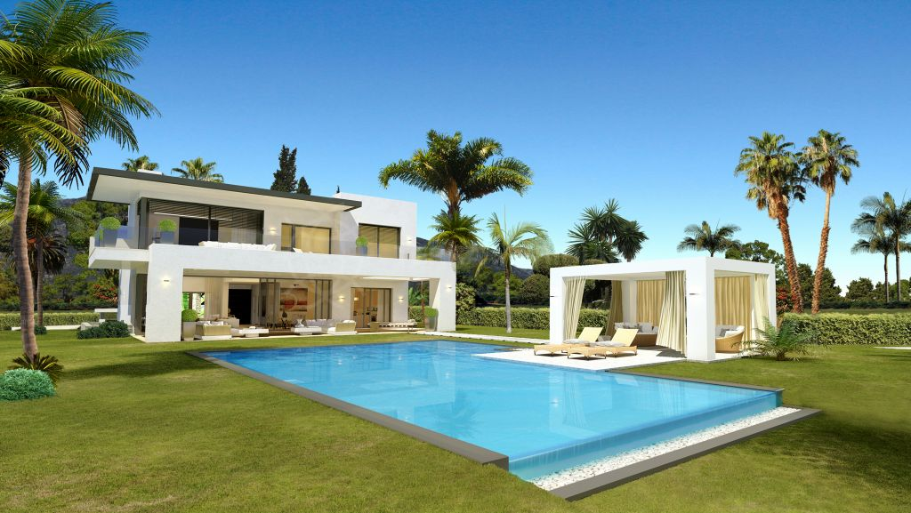 Marbella Golden Mile, Contemporary style villa for sale in the exclusive Las Lomas de Marbella, with sea views and private swimming pool