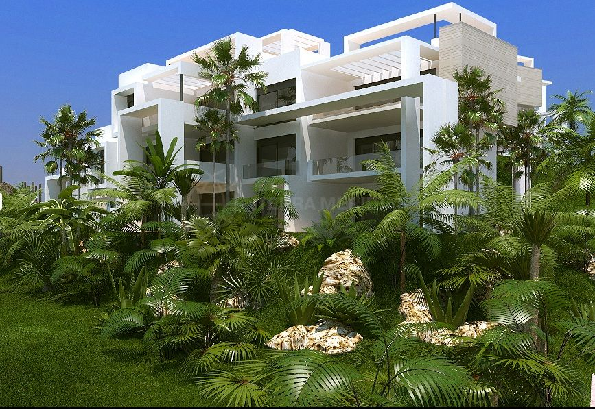 Estepona, New ground floor 3 bedroom apartment for sale in Atalaya, pretty gated complex with golf views, swimming pool, gym and spa