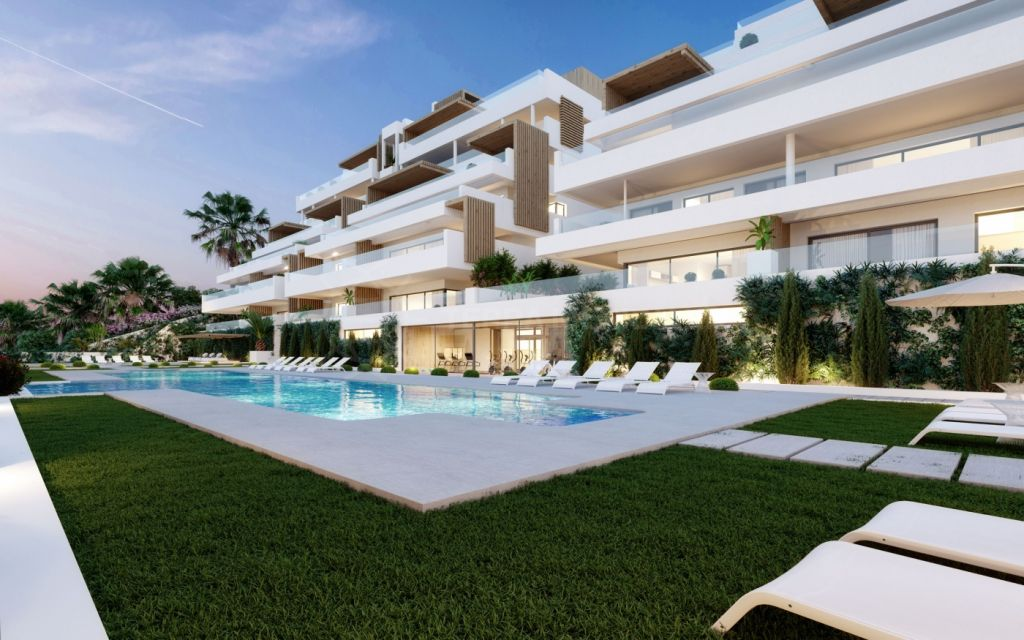 Estepona, Off-plan modern first-floor apartment with spacious terrace within walking distance of the beach for sale in Alexia Life, Estepona town