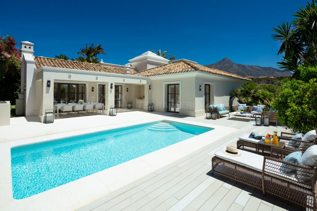 Nueva Andalucia, Ultra sleek recently refurbished villa with mountain views for sale in the upscale neighbourhood of Las Brisas, Nueva Andalucia, Marbella