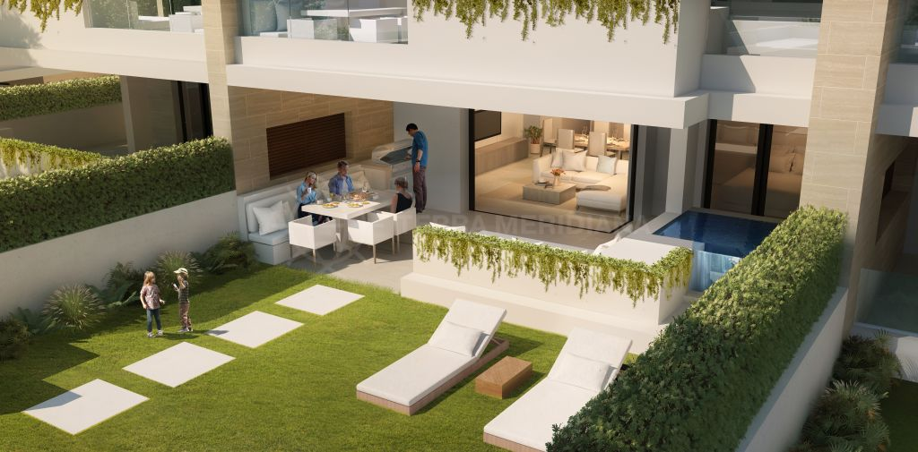 Estepona, Contemporary off-plan ground floor apartment with private garden and plunge pool for sale in the beachfront development of Velaya, New Golden Mile, Estepona
