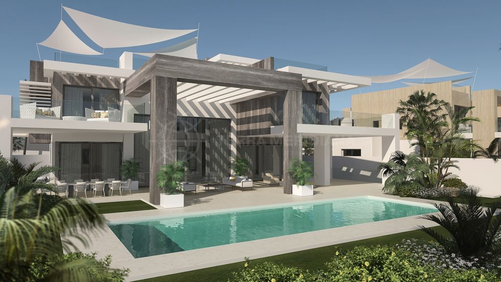 Marbella Golden Mile, Unprecedented avant-garde new villa with sauna and gym for sale in the heart of the iconic Marbella Golden Mile