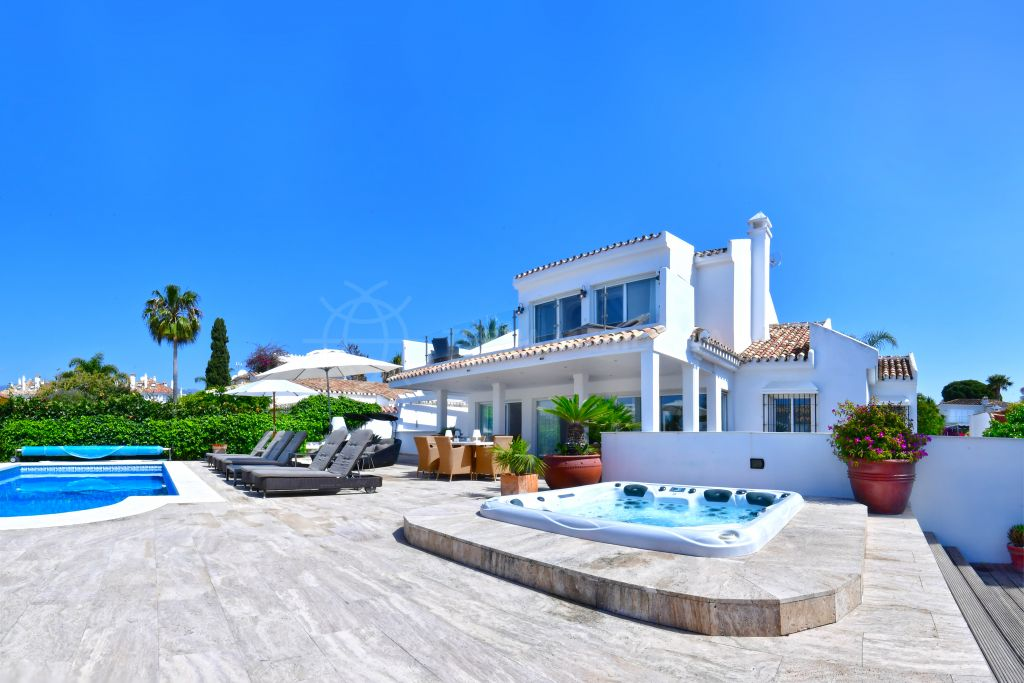 Marbella East, Magical recently remodelled luxury beachside villa with distinctive finishes for sale in El Rosario, Marbella East