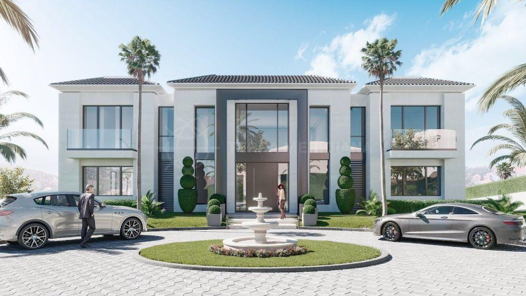 Benahavis, Contemporánea y audaz villa de nueva construcción en primera línea de golf en venta en Los Almendros, Benahavis