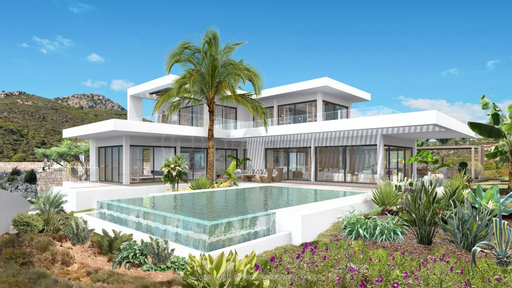 Benahavis, Modernistic turnkey villa wrapped by panoramic vistas of the Mediterranean sea for sale in Monte Mayor, Benahavis