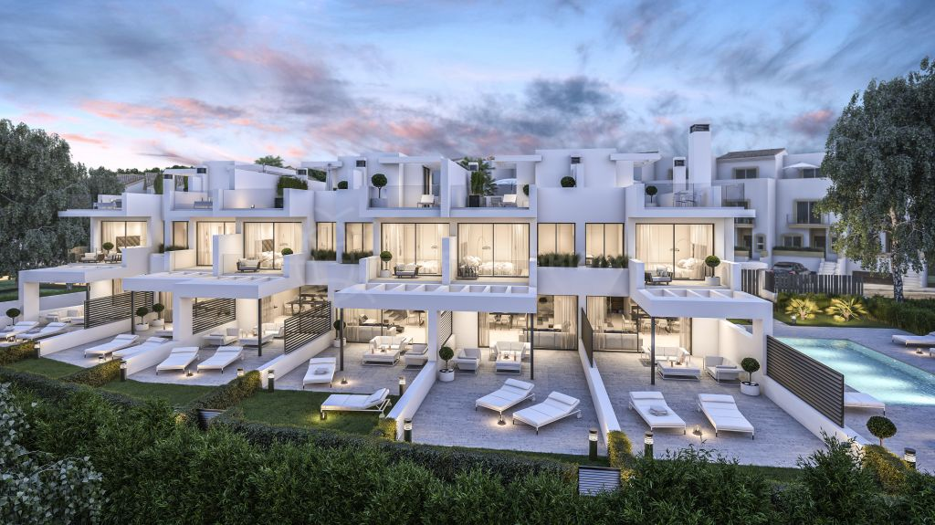 Estepona, Off plan beachside 3 bedroom townhouse with private garden for sale in West Beach, Estepona