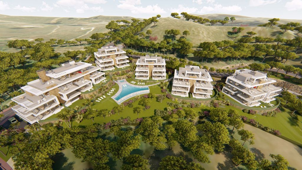 Estepona, Brand new south-facing contemporary apartment with breathtaking views for sale in the gated community of Ágora, Estepona
