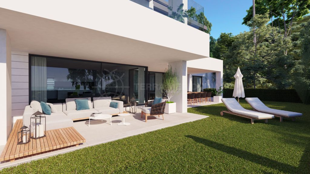 Benahavis, Contemporary off plan ground floor apartment with private garden for sale in Aqualina Residences, Benahavis