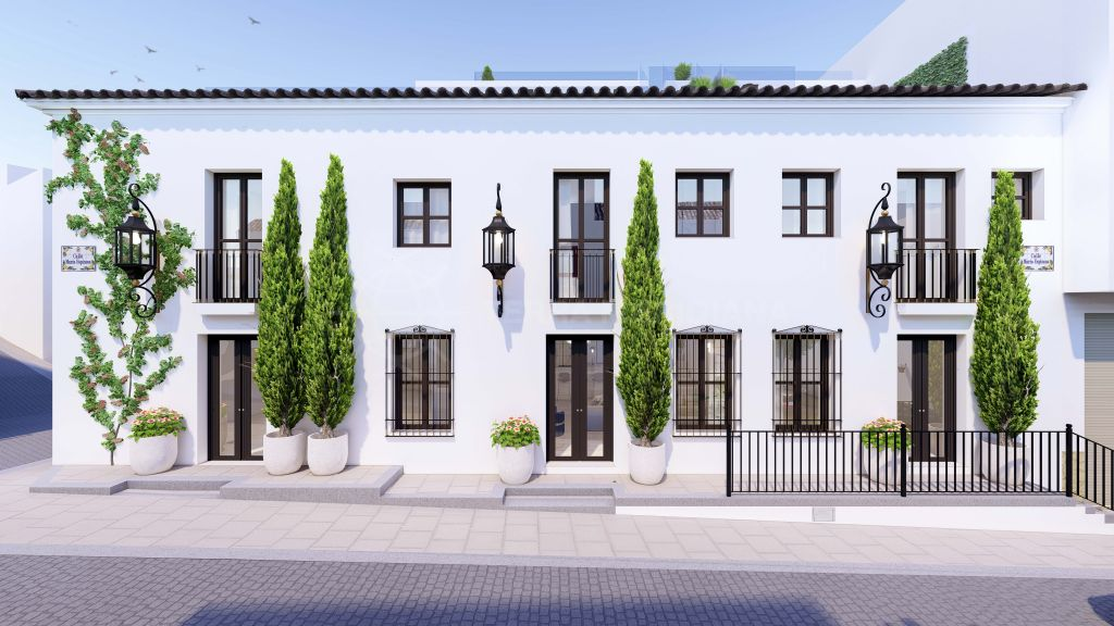Estepona, Brand new luxury Andalusian style townhouse with private pool and solarium for sale in the centre of Estepona