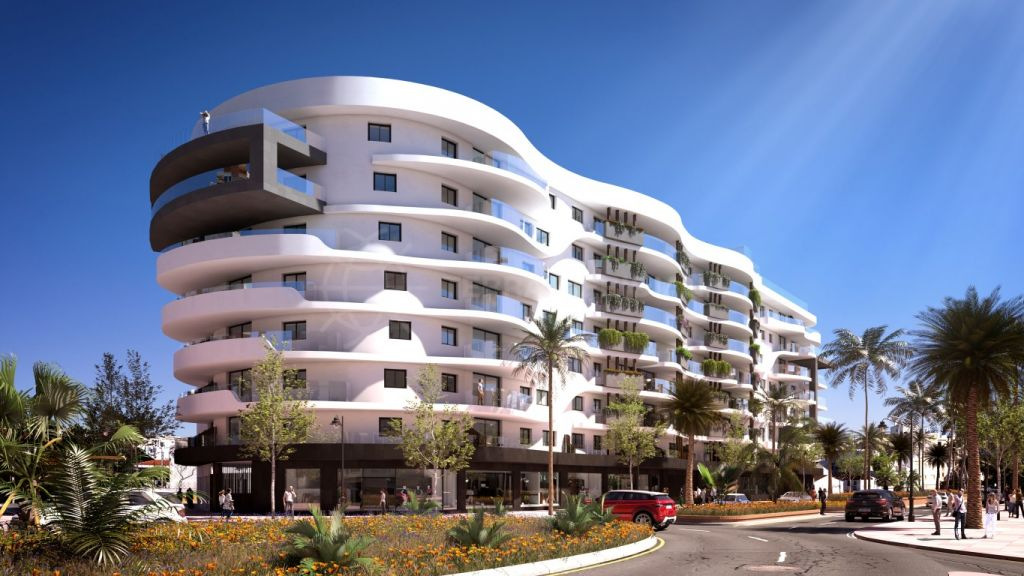 Estepona, Off plan spacious 3 bedroom corner apartment for sale in an emblematic area of Estepona centre