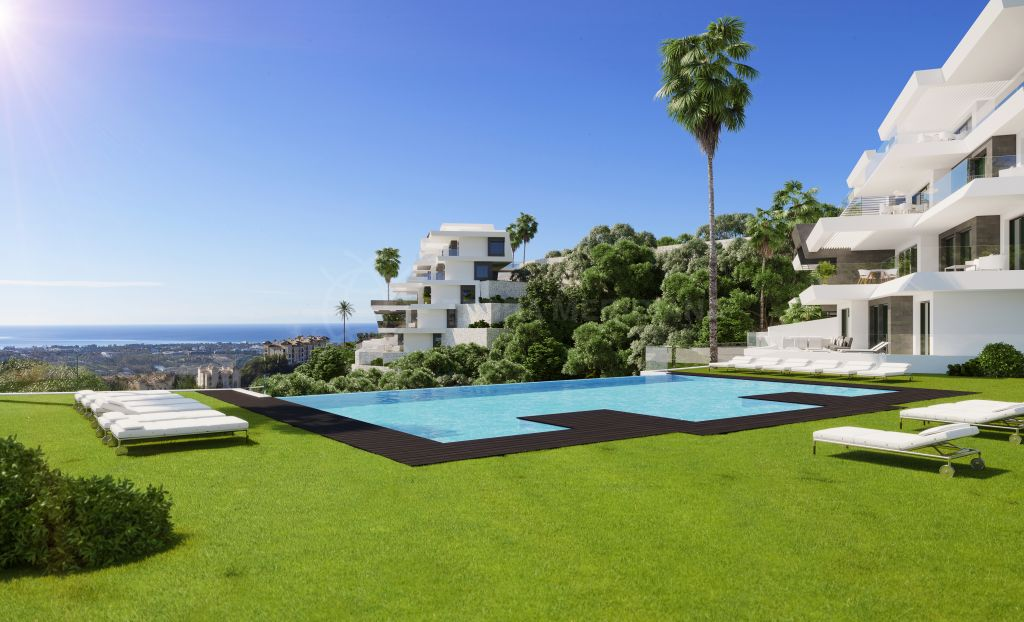 Benahavis, Off plan contemporary 3 bedroom ground floor apartment with far reaching views for sale in BYU Hills, Benahavis