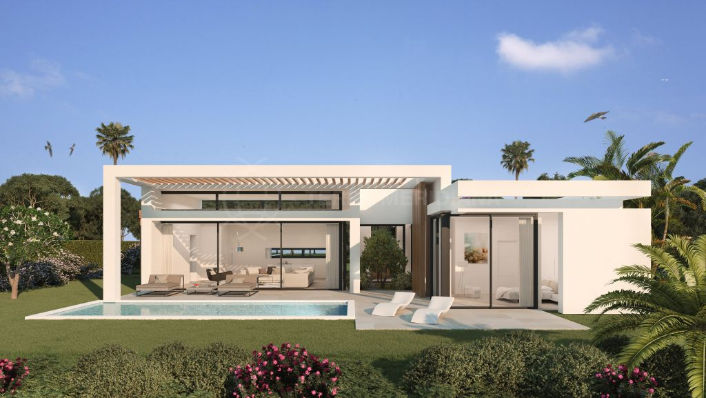 Estepona, Exclusive 3 bedroom modern villa with private salt water pool and sea views for sale in Atalaya, Estepona