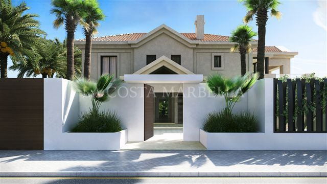 Marbella Golden Mile, Stunning contemporary sea side villa for sale next to the Marbella Club