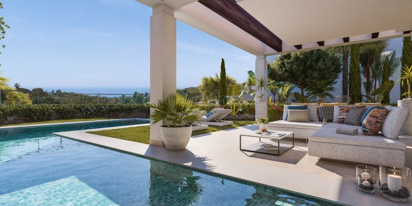 14 modern villas with sea and golf views, next to Cabopino golf, in Calahonda.