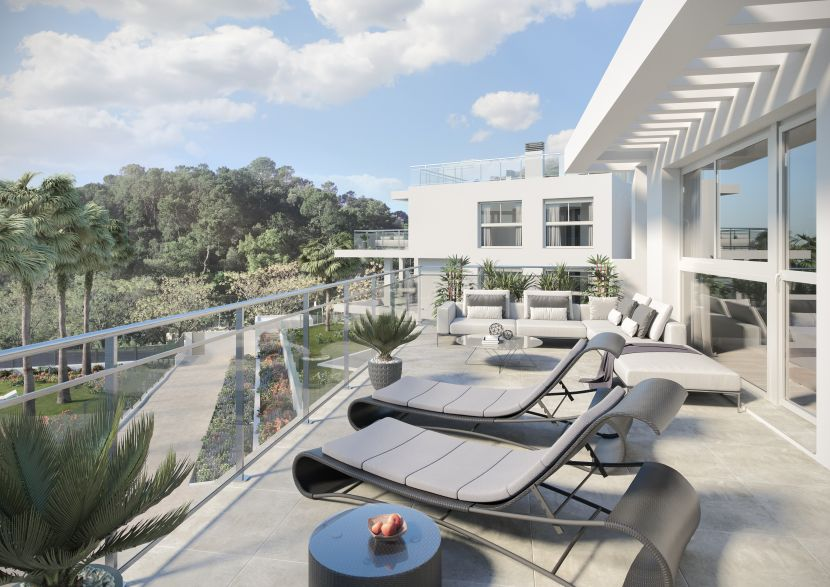 New contemporary apartments in the typical Andalusian town of Benahavis