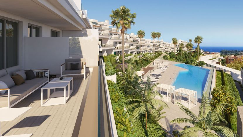 Stylish contemporary townhouses with seaviews, for sale in the New Golden Mile in Estepona