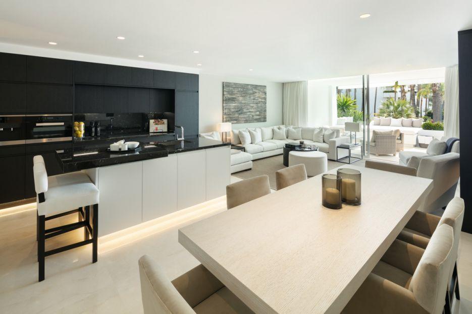 Luxury redesigned elevated ground floor apartment in Puente Romano