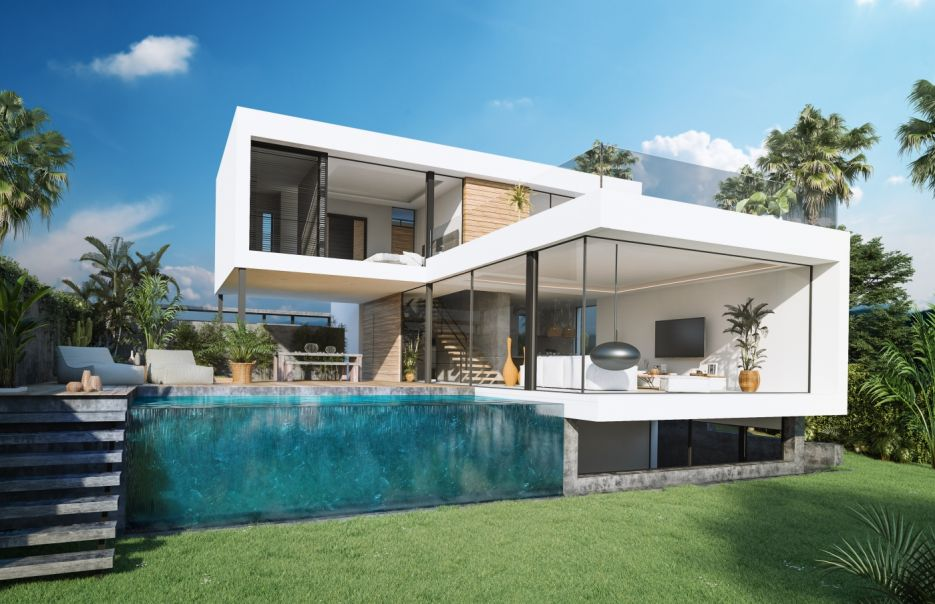 Frontline golf new development of 12 contemporary villas in Estepona