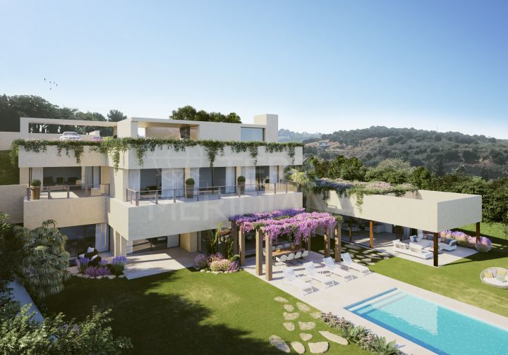 Stunning off-plan contemporary style villa with 5 bedrooms and sea views for sale in Los Flamingos, Benahavis