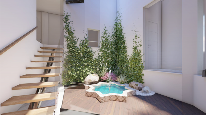 Unique off-plan three bedroom ground floor apartment including garage for sale in Estepona old town