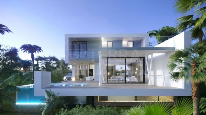 A brand new contemporary style front line golf villa for sale in El Campanario, Estepona