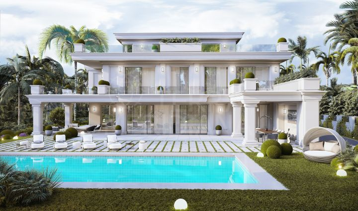 Off plan villa for sale in the Golden Mile of Marbella, with sea views