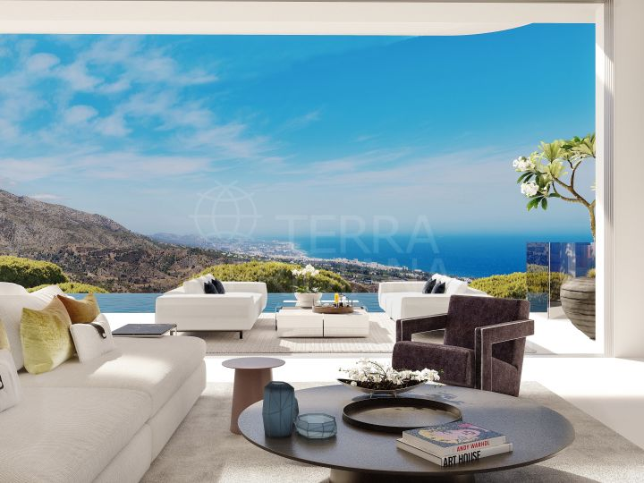 Brand news contemporary style villa with panoramic sea and lake views for sale in La Quinta, Benahavis