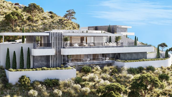 Brand new contemporary style villa with panoramic sea and lake views for sale in La Quinta, Benahavis