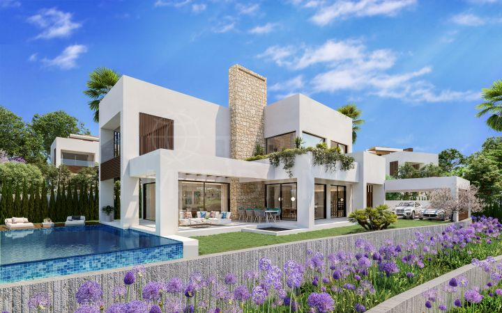 Brand new contemporary style luxury villa with 4 bedrooms and sea views for sale in La Fuente, Marbella