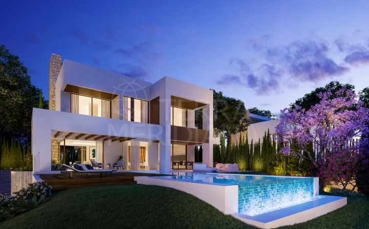 Modern style brand new 4 bedroom villa with pool and sea views for sale in La Fuente, Marbella