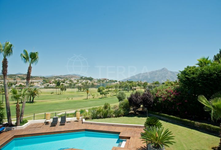 Modernised and extended contemporary front-line villa, with heated pool and gardens, Los Naranjos Golf, Nueva Andalucia