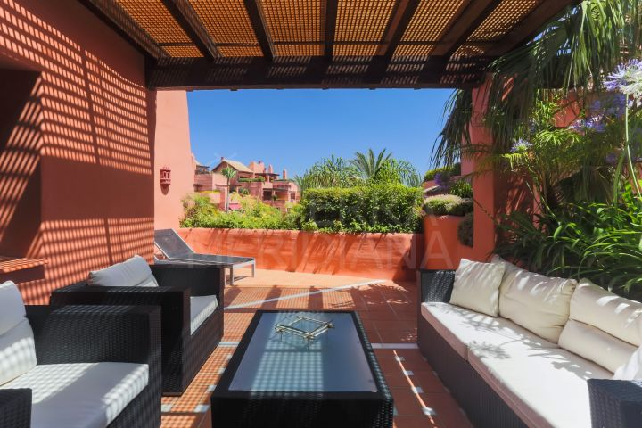 Luxury duplex penthouse for sale in frontline beach complex of Torre Bermeja, Estepona