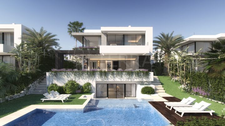 Boutique development of luxury Scandinavian designed villas for sale in El Campanario Golf, with rooftop Jacuzzi, private pools and sea views