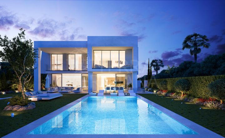 New designer contemporary villa for sale with saltwater pool, sea views, Santa Clara, Marbella East