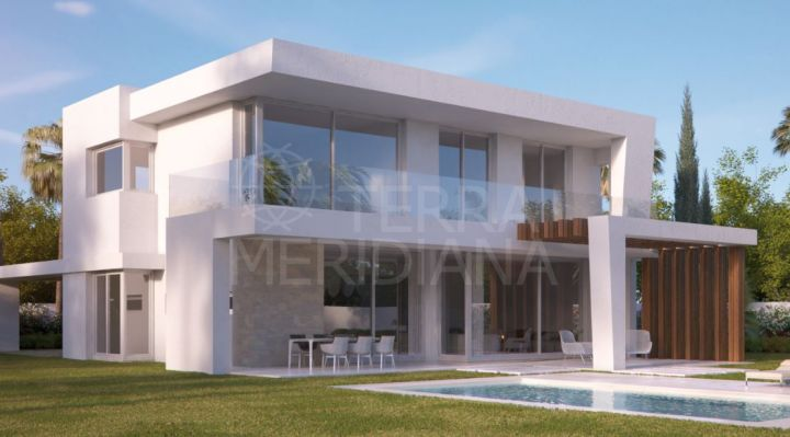 Brand-new, modern villa for sale, in gated development, pool, sea and golf views, Santa Clara, Marbella East