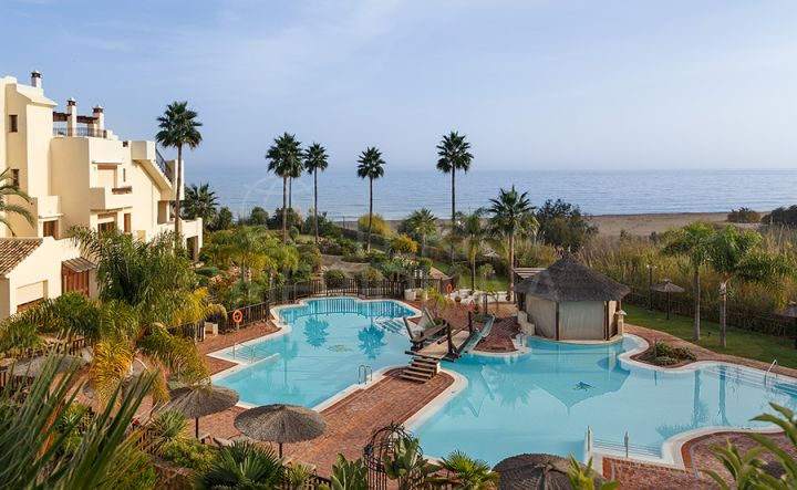 Fantastic duplex penthouse for sale in front line beach complex of Bahia del Velerin, Estepona