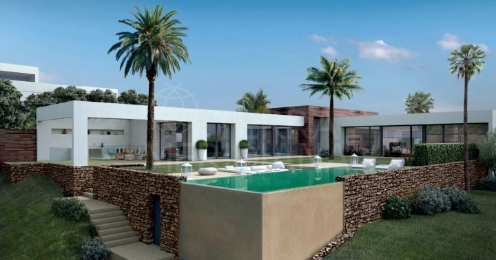 Turnkey project for an elegant 4 bedroom villa, for sale in Altos de Los Monteros, modern architecture with infinity pool sea views