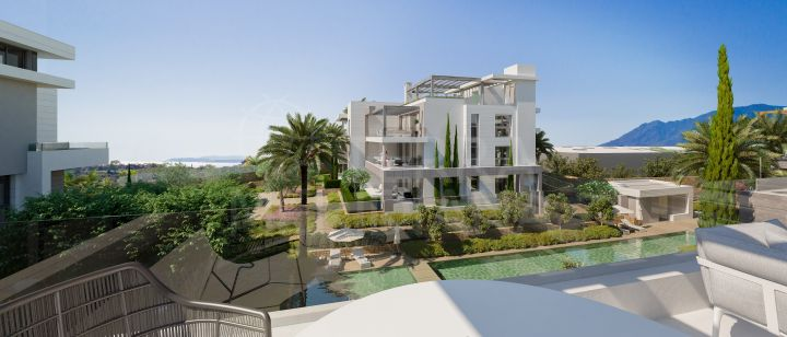 New first floor modern apartment for sale in Estepona, New Golden Mile with private garden and communal swimming pool