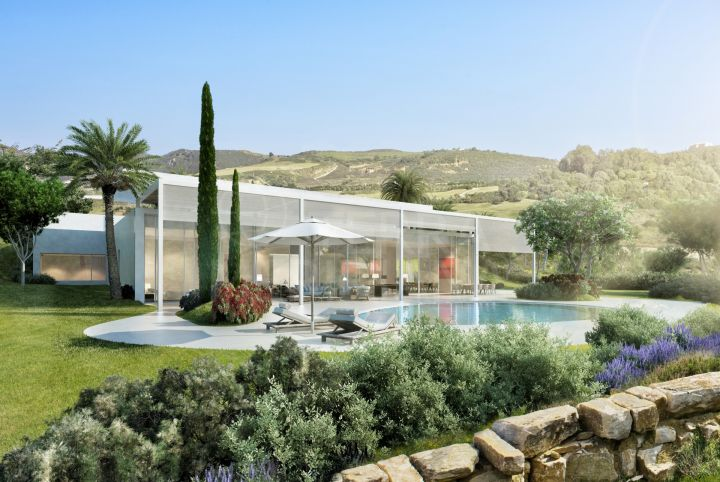 Off plan contemporary 4 bedroom villa for sale front line Cortesin Golf, Casares
