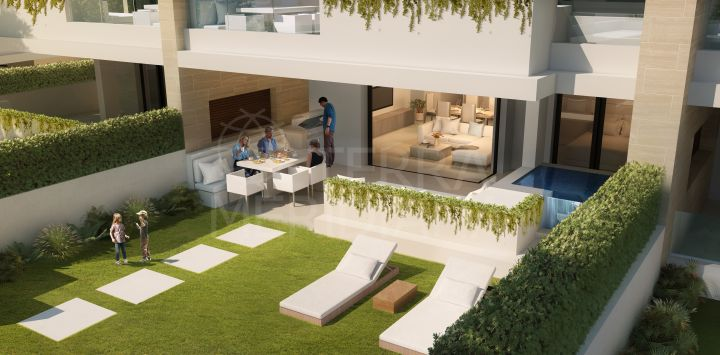 Modern off-plan ground floor apartment with garden for sale in Velaya, New Golden Mile, Estepona