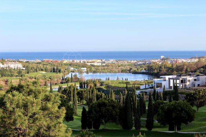 Striking modern villa with expansive views spanning the Mediterranean skyline for sale in the exclusive Los Flamingos Golf, Benahavis