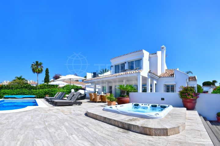 Remodelled luxury beachside villa with distinctive finishes for sale in El Rosario, Marbella
