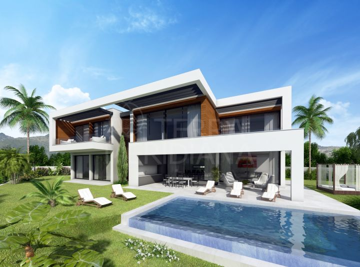 Off plan sustainable frontline golf villa on an elevated plot with a 6 month construction period for sale in Paraiso Medio, Estepona