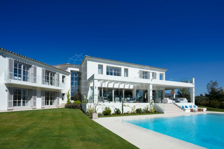 Front line golf classic style luxury villa showcasing a contemporary warmth for sale in Aloha, Nueva Andalucia, Marbella