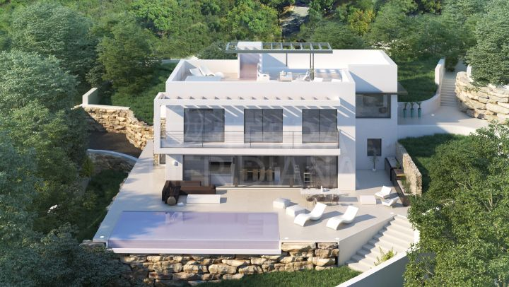 Off plan energy efficient villa with a breathtaking panorama for sale in El Madroñal, Benahavis